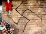 Nazi swastika drawn on home of a Caledonia resident during the night.