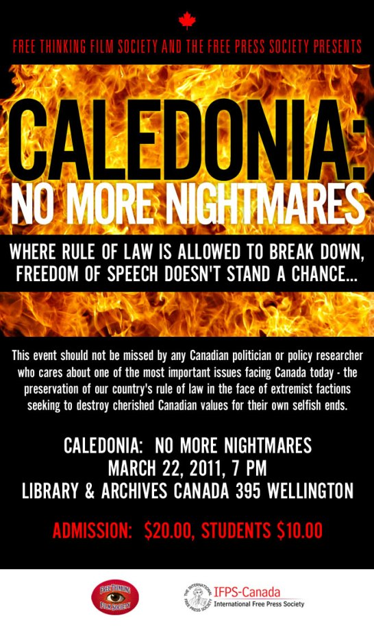 'Caledonia: No More Nightmares,' March 22/11, Ottawa. Click image for ticket information.